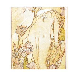 Iris by Alphonse Mucha Note Pad