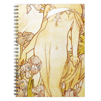 Iris by Alphonse Mucha Notebook