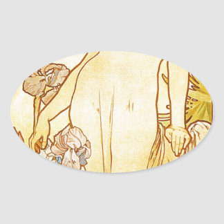 Iris by Alphonse Mucha Oval Sticker