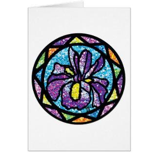 Iris chispeante de la púrpura del brillo tarjeta de felicitación