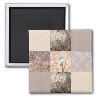 Iris Cream Patchwork 2 Inch Square Magnet