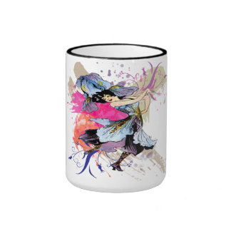 Iris Dancing Fairy Lady Vintage Abstract Art Ringer Coffee Mug