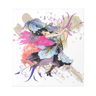 Iris Dancing Fairy Woman Abstract Art Flowers Notepad
