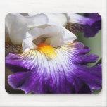 Iris de color morado oscuro y blanco Mousepad Tapete De Ratones