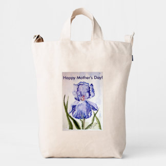 Iris de la acuarela del día de madres bolsa de lona duck
