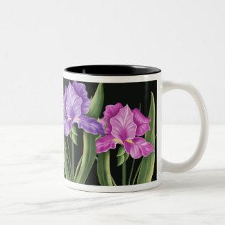 Iris de la primavera taza de café de dos colores