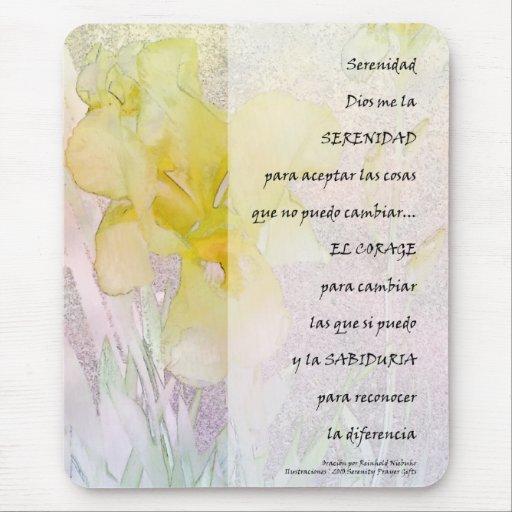 Iris de PrayerYellow de la serenidad en español Tapete De Ratones