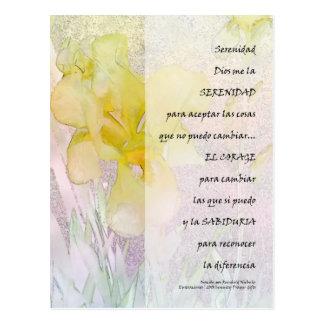 Iris de PrayerYellow de la serenidad en español Tarjeta Postal