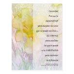 Iris de PrayerYellow de la serenidad en español Tarjetas Postales
