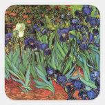 Iris de Van Gogh, arte del impresionismo del poste Pegatinas Cuadradases Personalizadas