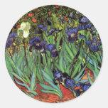Iris de Van Gogh, arte del impresionismo del poste Etiqueta Redonda
