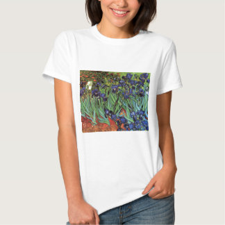 Iris de Van Gogh, arte del impresionismo del poste Playera