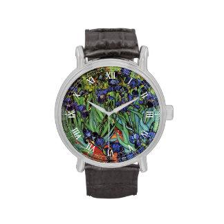 Iris de Van Gogh, arte del impresionismo del poste Reloj De Mano