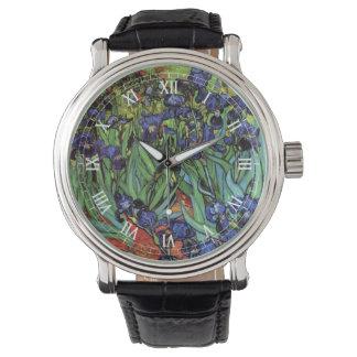 Iris de Van Gogh, bella arte del jardín del Reloj De Mano