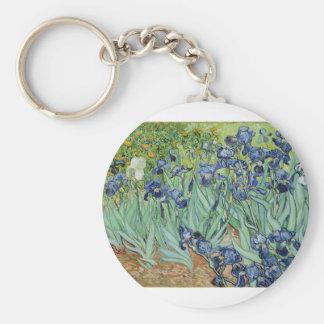 Iris de Van Gogh Llavero Redondo Tipo Pin
