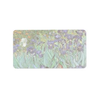 Iris de Vincent van Gogh, flores del jardín del Etiqueta De Dirección