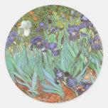 Iris de Vincent van Gogh, flores del jardín del Pegatina Redonda