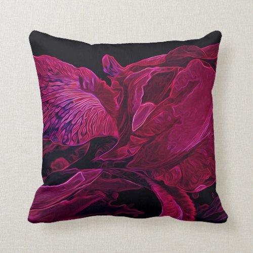 Iris Deep Red Glow Throw Pillow