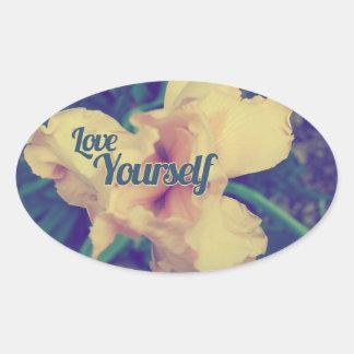 Iris del amor usted mismo pegatina ovalada