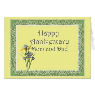 Iris del aniversario para la mamá y el papá tarjeta
