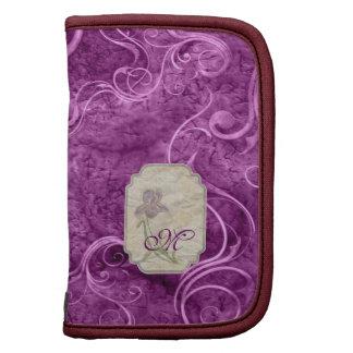 Iris del monograma y fondo púrpuras de Swirly Organizador