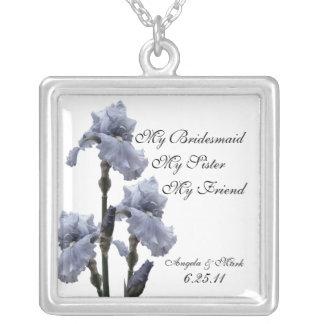 Iris del regalo azul de la dama de honor grimpolas personalizadas