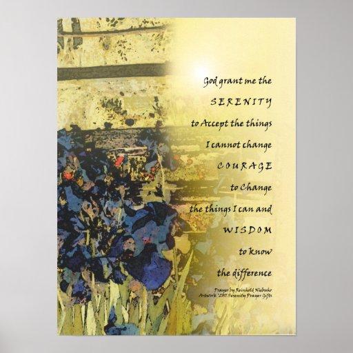 Iris del rezo de la serenidad e impresión de la ce póster