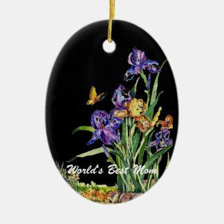 Iris delicados para el ornamento del óvalo del día adorno de navidad