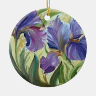 Iris Double-Sided Ceramic Round Christmas Ornament