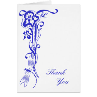 Iris & Dragonfly Thank You Royal Blue Note Card