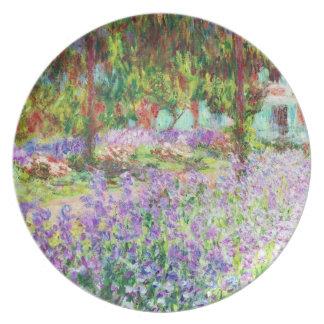 Iris en el jardín Claude Monet de Monet Platos De Comidas