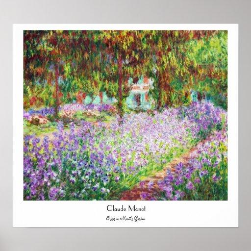 Iris en el jardín Claude Monet de Monet Póster