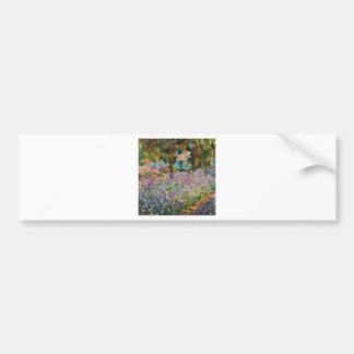 Iris en el jardín de Monet Etiqueta De Parachoque