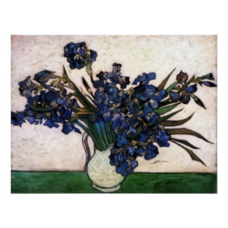 Iris en florero de Vincent van Gogh Poster