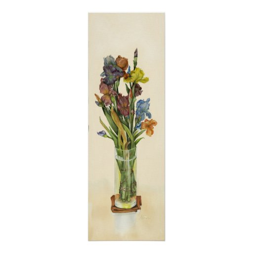 "Iris en poster de la lona del florero 36x12"""