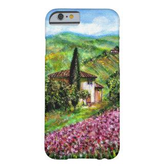 IRIS EN TOSCANA, paisaje púrpura de los campos de Funda Barely There iPhone 6