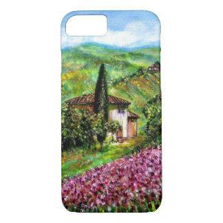 IRIS EN TOSCANA, paisaje púrpura de los campos de Funda iPhone 7