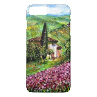 IRIS EN TOSCANA, paisaje púrpura de los campos de Funda iPhone 7 Plus