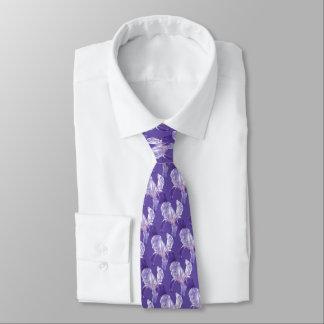 Iris floral botanic ultra violet wedding tie