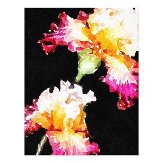 Iris floreciente plantillas de membrete