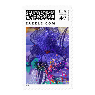 Iris flower and wings stamp