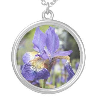 Iris flower birth month necklace