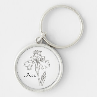 Iris Flower Black Pen Ink Drawing Custom Name Keychain