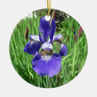 Iris Flower Blue Flag Ceramic Ornament