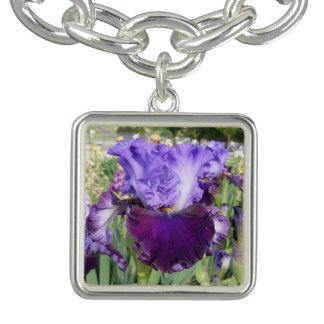 IRIS FLOWER CHARM BRACELET Purple Square