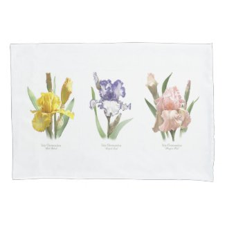 Iris Flower Garden Pillow Case