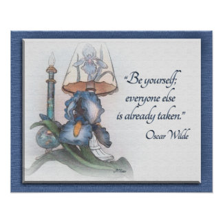 "Iris flower sketch encouragement ""Be Yourself"" Poster"