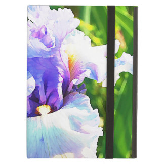 Iris Flower Watercolor in Blue and Lavender iPad Air Cover