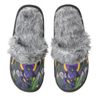 Iris Flowers Abstract Art Slippers Pair Of Fuzzy Slippers