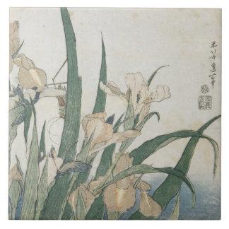 Iris Flowers and Grasshopper, c.1830-31 Ceramic Tile